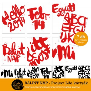 Ingyen letölthető Valentin nap témájú Project Life kártyák