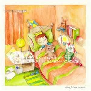 Alvó Grafika az alvó kisfiúról és a macijáról