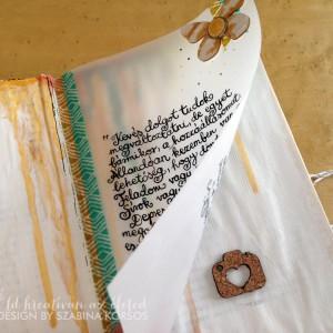 Részlet az első oldalpárról - egy pauszpapírra írt idézet...