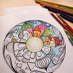 Házak, házikós mandala színező