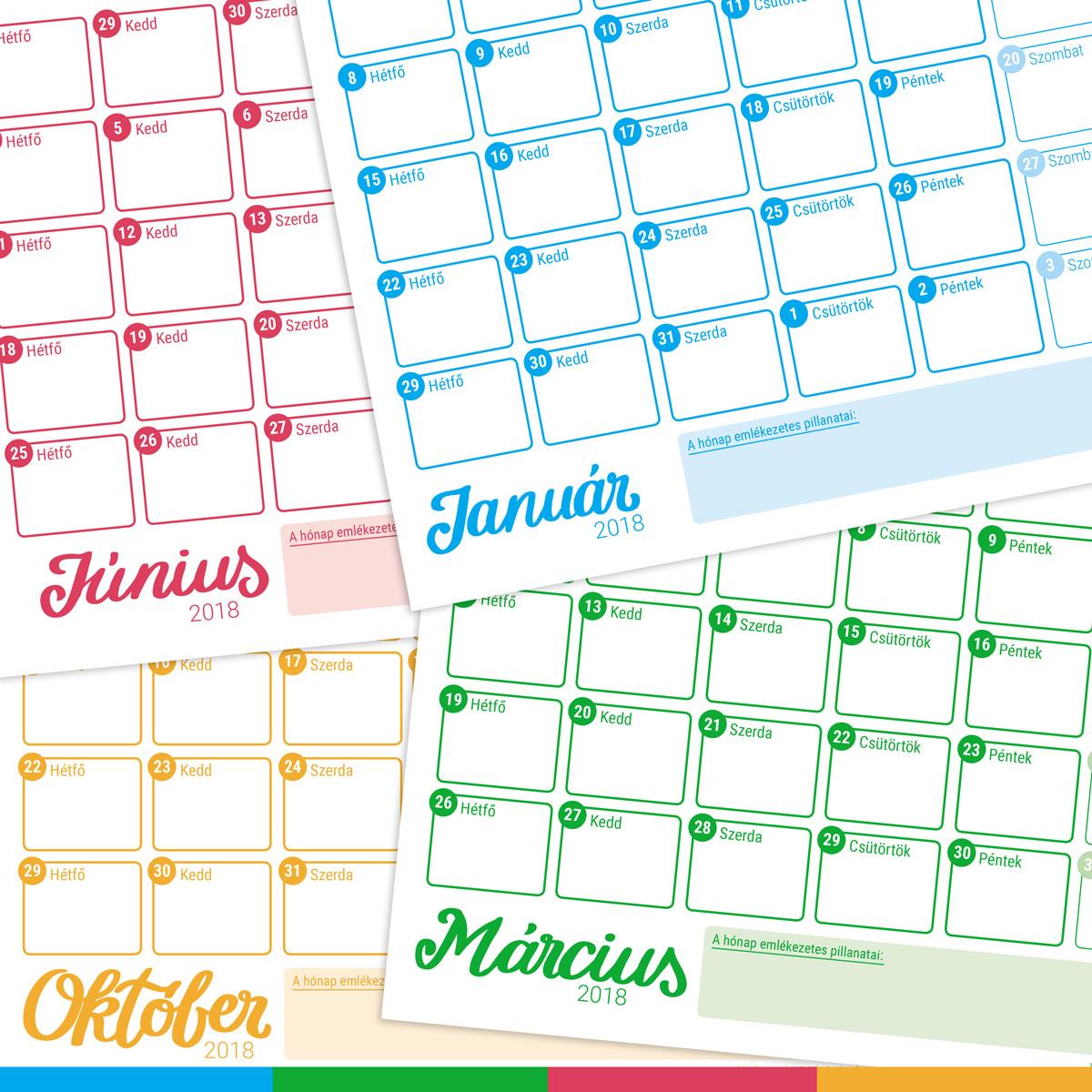 letölthető naptár Nyomtatható naptár 2018   Szabi's Creative World letölthető naptár