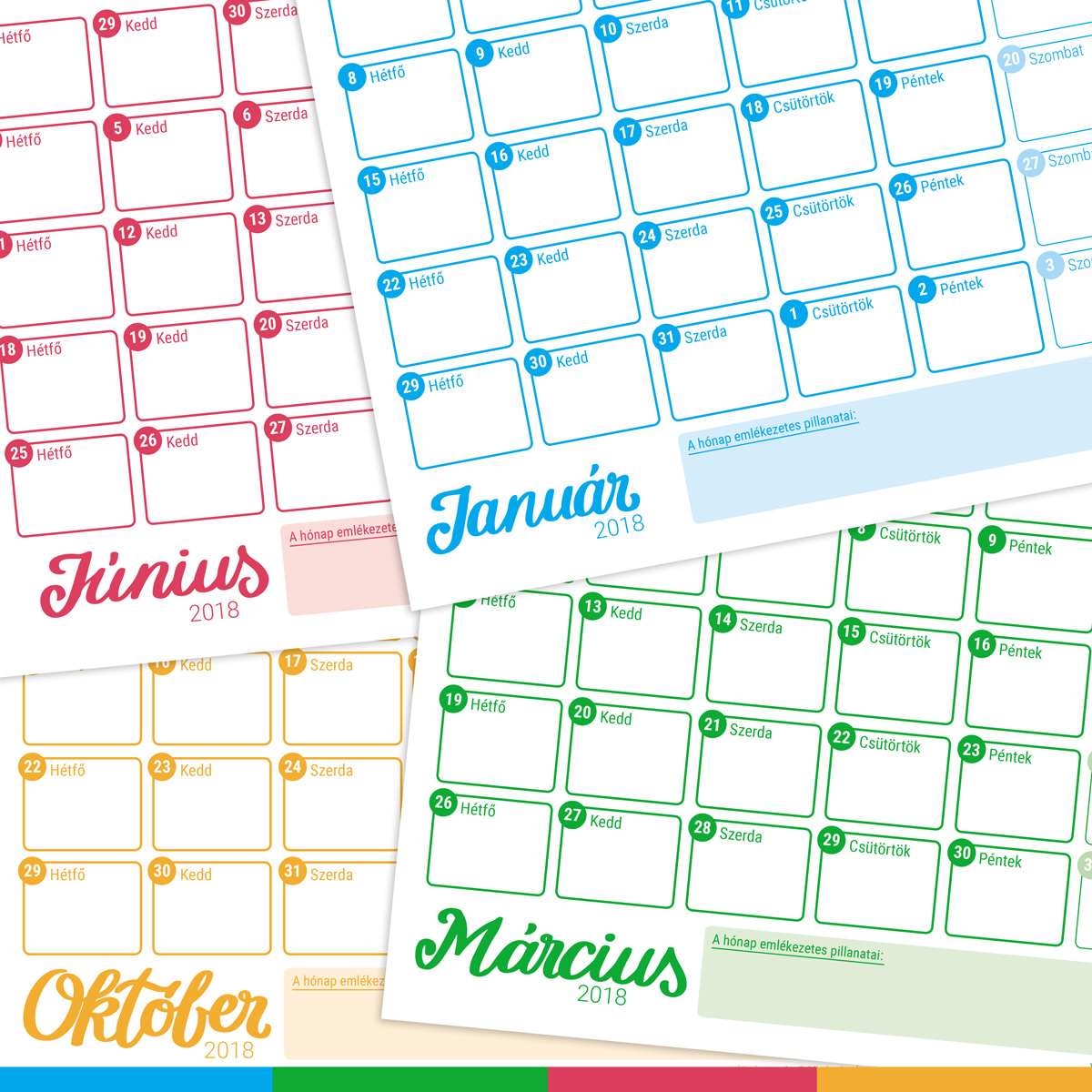 nyomtatható naptár Nyomtatható naptár 2018   Szabi's Creative World nyomtatható naptár