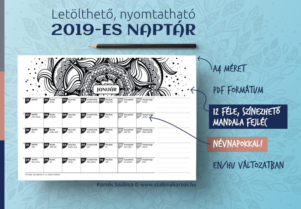 Letölthető, nyomtatható 2019-es naptár
