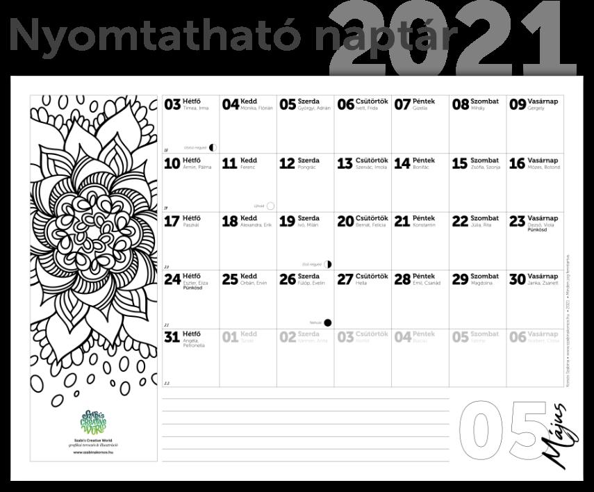 Nyomtathat naptár 2021 névnapokkal, hodlfázisokkal, mandala színezővel