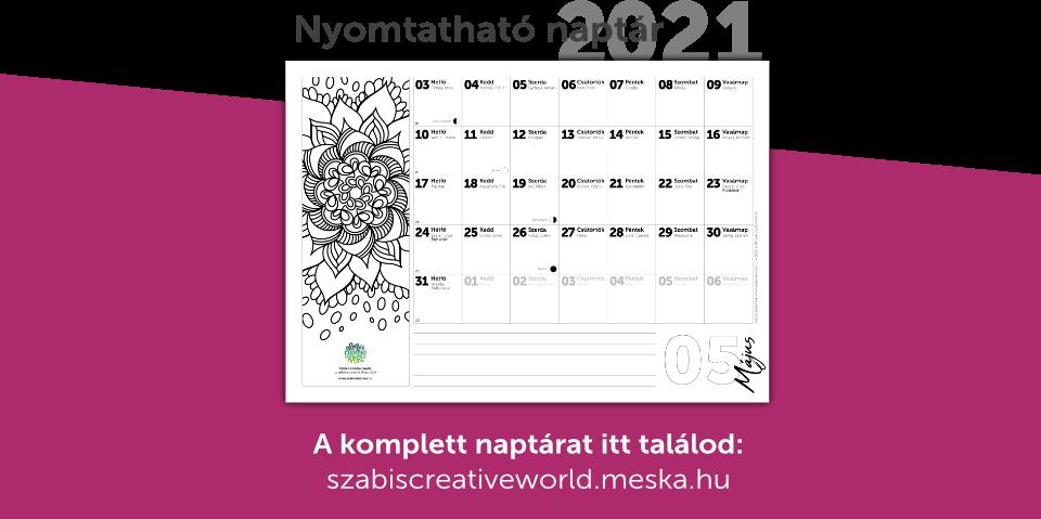 Nyomtathat naptár 2021 névnapokkal, holdfázisokkal, mandala színezővel