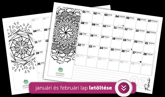 Ajándék letölthető januári és februári naptár lap letöltése