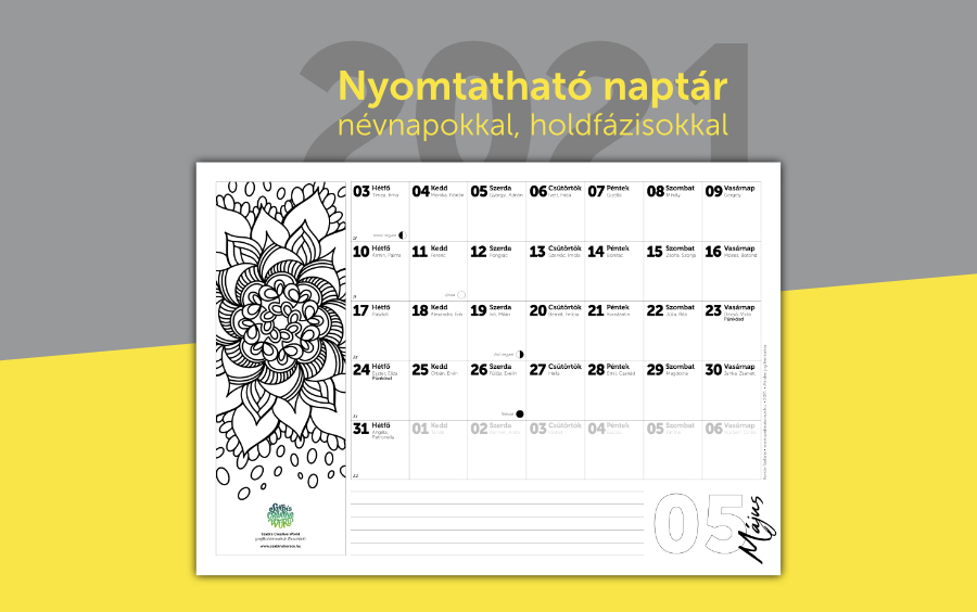 Nyomtatható 2021 naptár, névnapokkal, holdfázisokkal